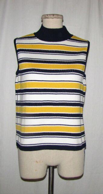 2352ff31979 St John Sport Blue Wht Yellow Striped Pattern Mock Turtleneck Slvless Knit  Top S