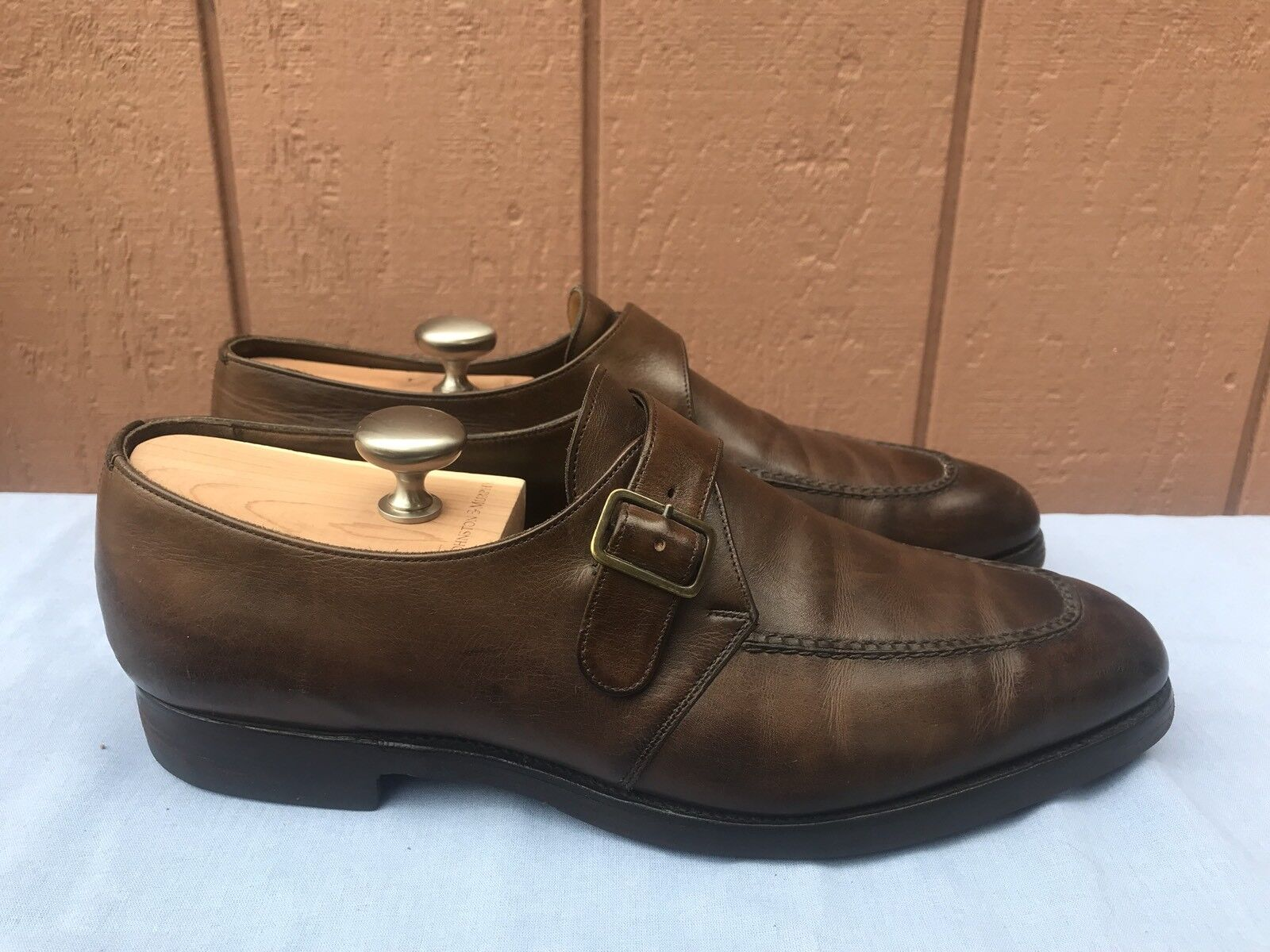 RARE EUC EDWARD VERDE Monk Strap Handsewn Leather Brown Split Toe US 10.5D  1425