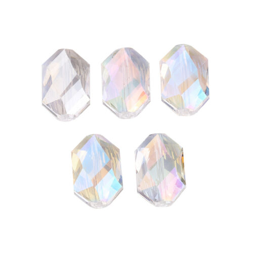 5PCS 18mm Oval Hexagon Glass Crystal Spacer Loose Beads Jewelry Making Bead Lots