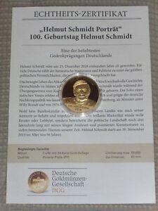 Medaille Gedenkprägung 100 Geburtstag Helmut Schmidt24 Karat