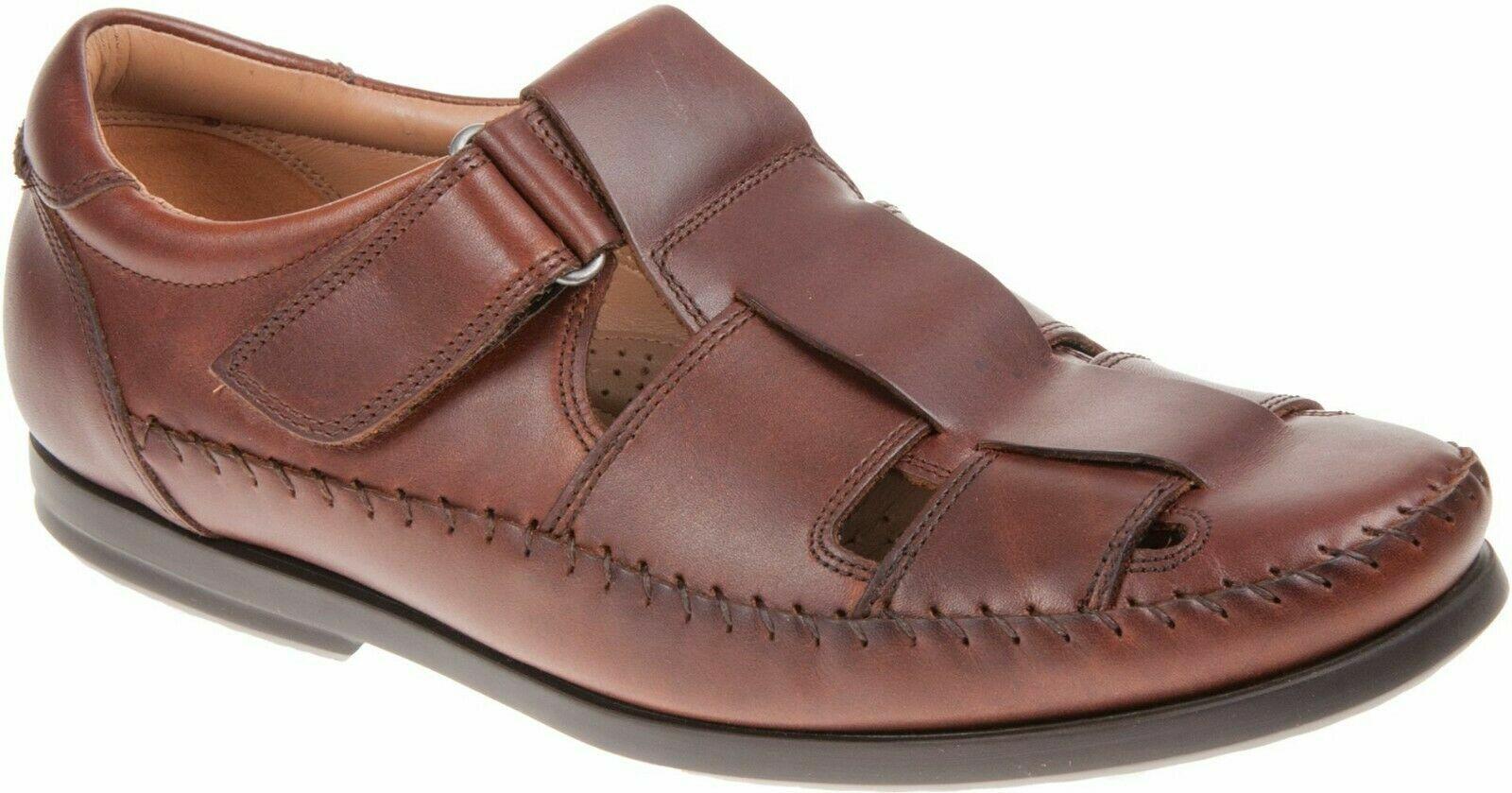 Clarks Unstructured Gala Strap Dark Tan Leather Men's Sandals Size UK 9 1/2G.