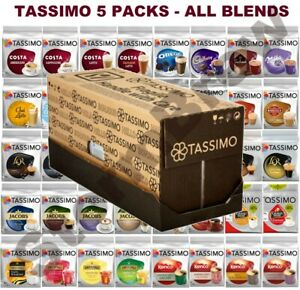 5 PACKS of TASSIMO PODS (COFFEE, TEA, HOT CHOCOLATE T-DISCS CAPSULES) 50+ BLENDS