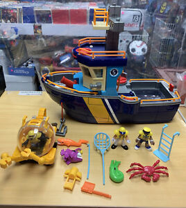 Fisher Price Imaginext Deep Sea Ocean Rescue Coast Guard Boat With Submarine Etc