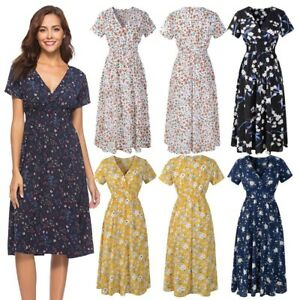 5d35b5a7aa2 Women Beach Sundress Holiday Ladies Print Party Midi Dresses Summer ...