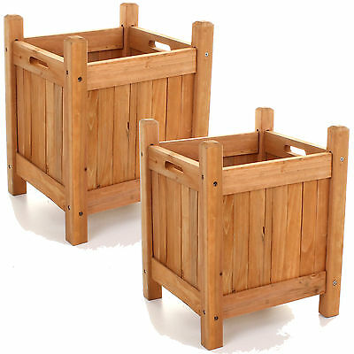 2x Square Outdoor Wooden Garden Planter Plantpot Flower Display Plants Natural