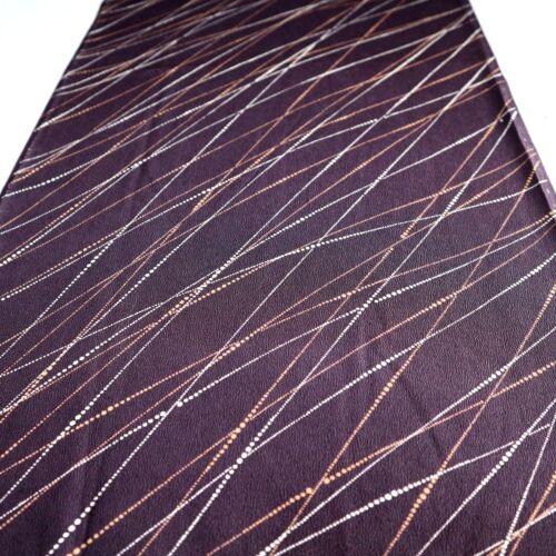 "Vintage Kimono Fabric Silk Dark Purple Art Classic 144cm 56.6/"" inches U92"
