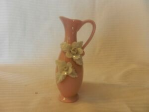 """Pink Ceramic Pitcher Flower Bud Vase With Raised White Flowers 5.25"""" Tall"""