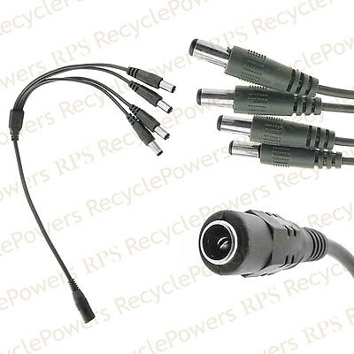 1 x CCTV Security Camera 2.1mm 1 to 4 Port Power Splitter Cable Pigtail 12V DC