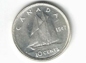 CANADA-1947-TEN-CENTS-DIME-KING-GEORGE-VI-800-SILVER-COIN-CANADIAN