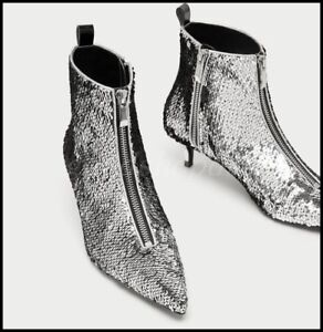 Chic-Womens-Sequins-Pointy-Toe-Ankle-Boots-Zipper-Low-Heel-Stilettos-Party-Shoes