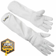 Beekeeping Gloves Goatskin Leather Canvas Long Sleeves With Elastic Cuff Med