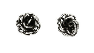 a59043856 New Sterling Silver 925 Oxidised Rose Flower Stud Earrings in Gift ...