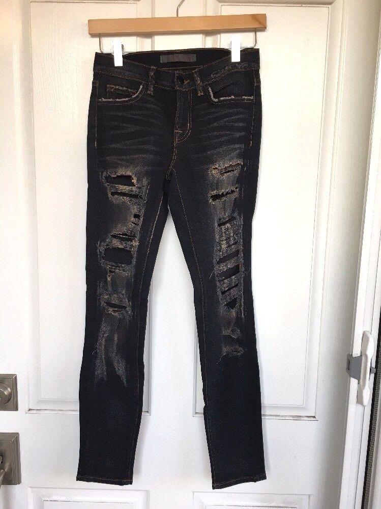 NWOT Nordstrom J BRAND Low-Rise Distressed Destroyed Dark bluee Skinny Jeans, 25