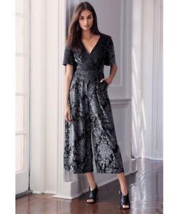 9afad58617bfb BNWT🌹NEXT🌹Size 8 Black Silver Burnout Velvet Jumpsuit / Culottes ...