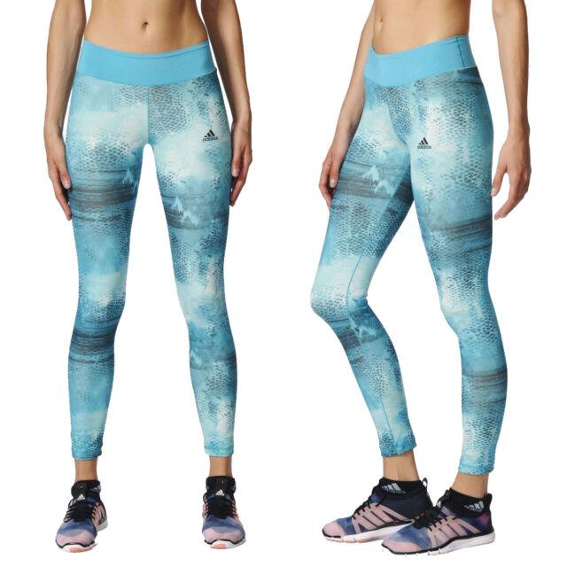 adidas Womens Long Tight Q2 Graphic Print Gym Running Sports Leggings Yoga Pants