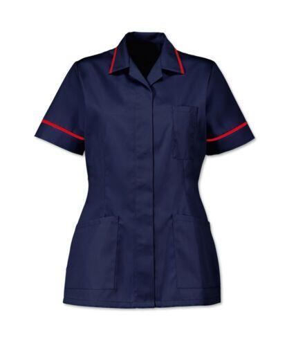 Blu scuro con finiture rosso NHS INS32NV//R Tunica da Donna Infermiere Sanitari odontoiatrici Salon