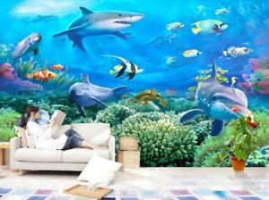 Papel Pintado Mural De Vellón  Mundo De Mar Tiburón 2 Paisaje Fondo De Pansize