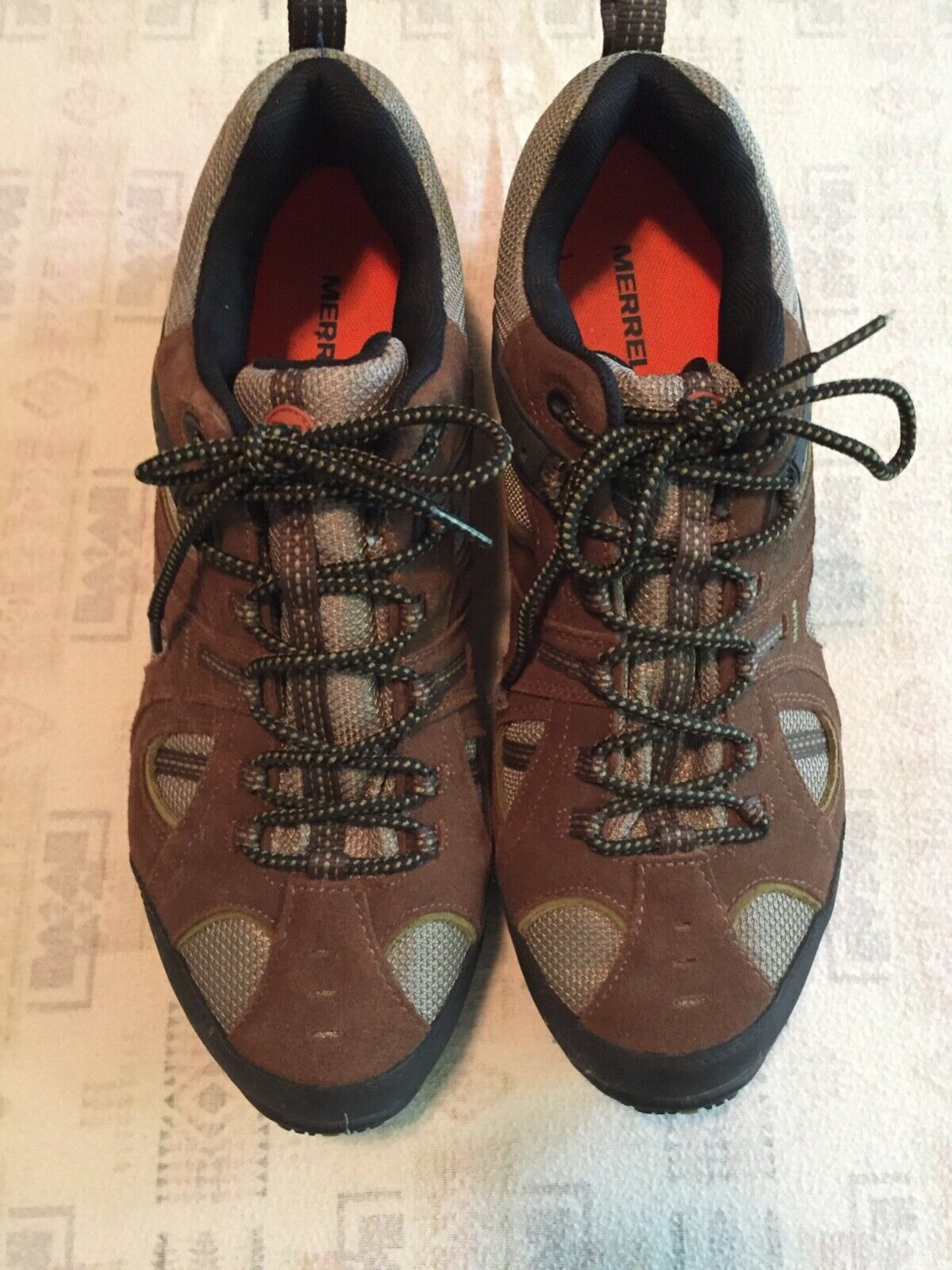 NEW Merrell hiking zapatos Mens 13 48 marrón gris negro walking MINT condition