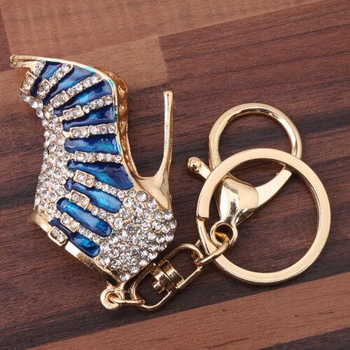 High Heel Shoes Bag Charm Pendant Keyring Keychain Lobster Clasp Crystal  CB