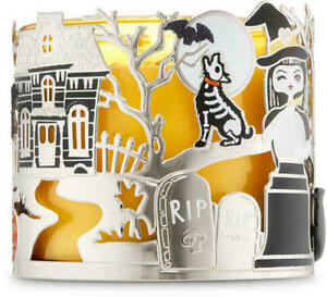 Bath-amp-Body-Works-Halloween-3-Wick-Candle-Holder-Sleeve-Witch-Haunted-House-Dog