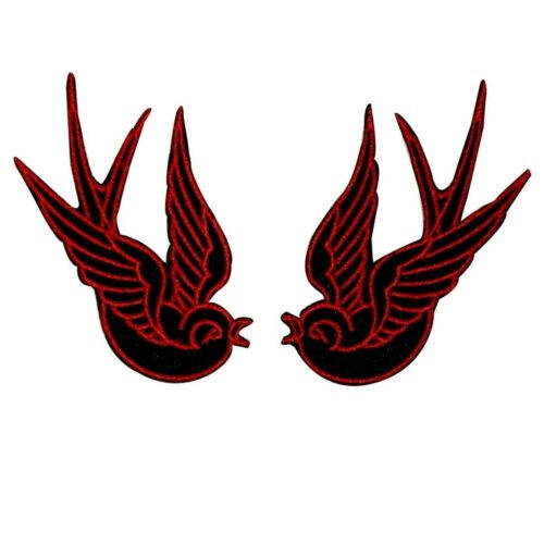 Set of 2 Red Swallow Patch Bird Tattoo Sparrow Ink Embroidered Iron On Applique