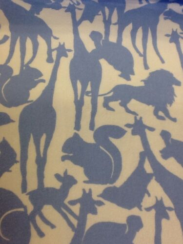 michael miller animal silhouettes on flannel blue by the half metre