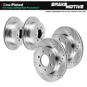 REAR BLACK DRILLED SLOTTED BRAKE Rotors For Escalade Express Sierra Tahoe Yukon