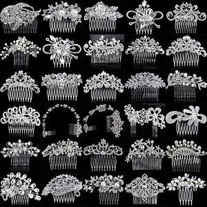 Bridal-Wedding-Flower-Leaf-Tassel-Crystal-Rhinestone-Hair-Comb-Hair-Accessories