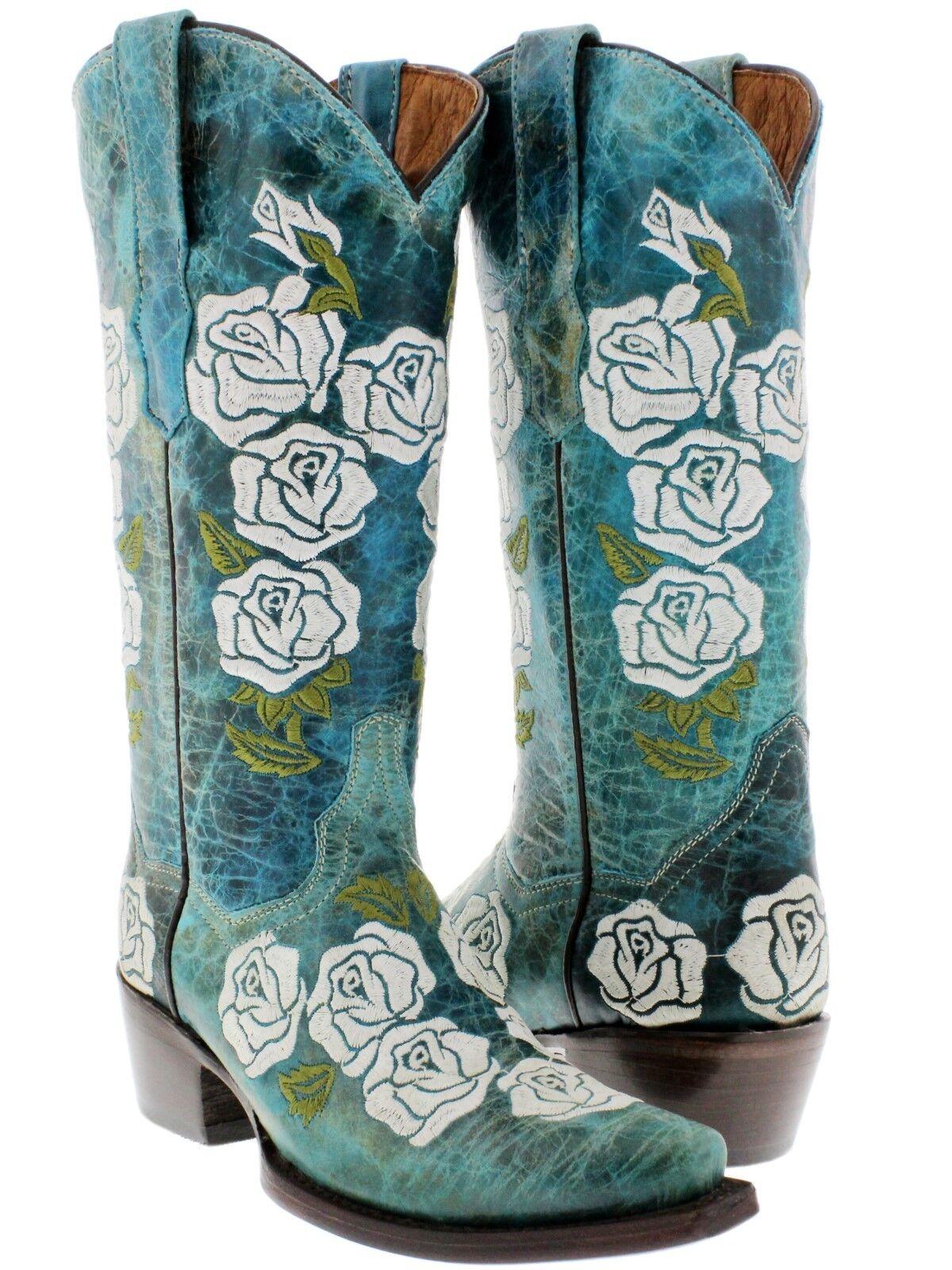 autentico online donna Turquoise rosa Embroidered Leather Western Wear Wear Wear Cowgirl stivali Snip Toe  fino al 65% di sconto