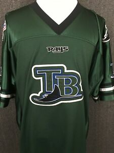 info for eb71b 61c17 Details about Tampa Bay Rays MLB Vintage Embroidered Patches Green Jersey  Lee Sport Men's 2XLT