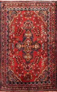 Vintage-RED-Traditional-Floral-Hand-knotted-Area-Rug-Wool-Oriental-4-039-x5-039-Carpet