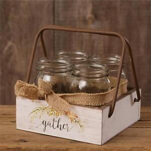 Mason-Jar-country-wood-Caddy-w-handle-and-Jars-Gather
