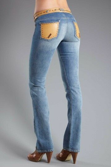 NEW MY TRIBE LEATHER Copper Studs Embellished Western Straight Leg Jeans 30