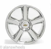 "Chevy Suburban Tahoe Ltz Chrome 22"" Wheels Rims Gold Bowtie 5308"