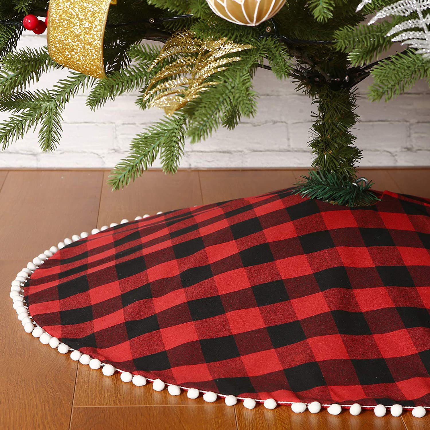 Christmas Tree Skirt In Buffalo Red Black Check Knit With Cream Fleece Trim 47 For Sale Online Ebay