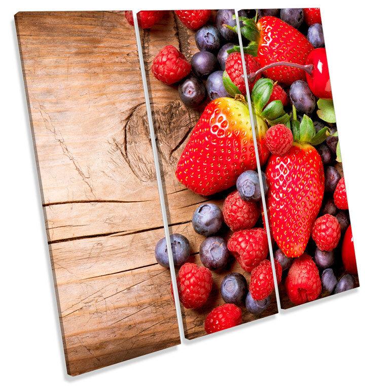 Strawberry Fruit Kitchen TREBLE CANVAS WALL ART Square Print Picture