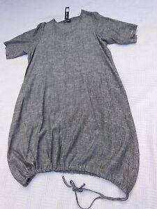 SALE-QUALITY-LINEN-DRESS-DENIM-BLACK-GREY-BNWT-46-034-BUST-LAGENLOOK-ETHNIC