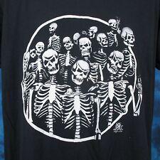 vintage 80s SKELETON GANG PAPER THIN T-Shirt LARGE/XL biker skull punk rock soft