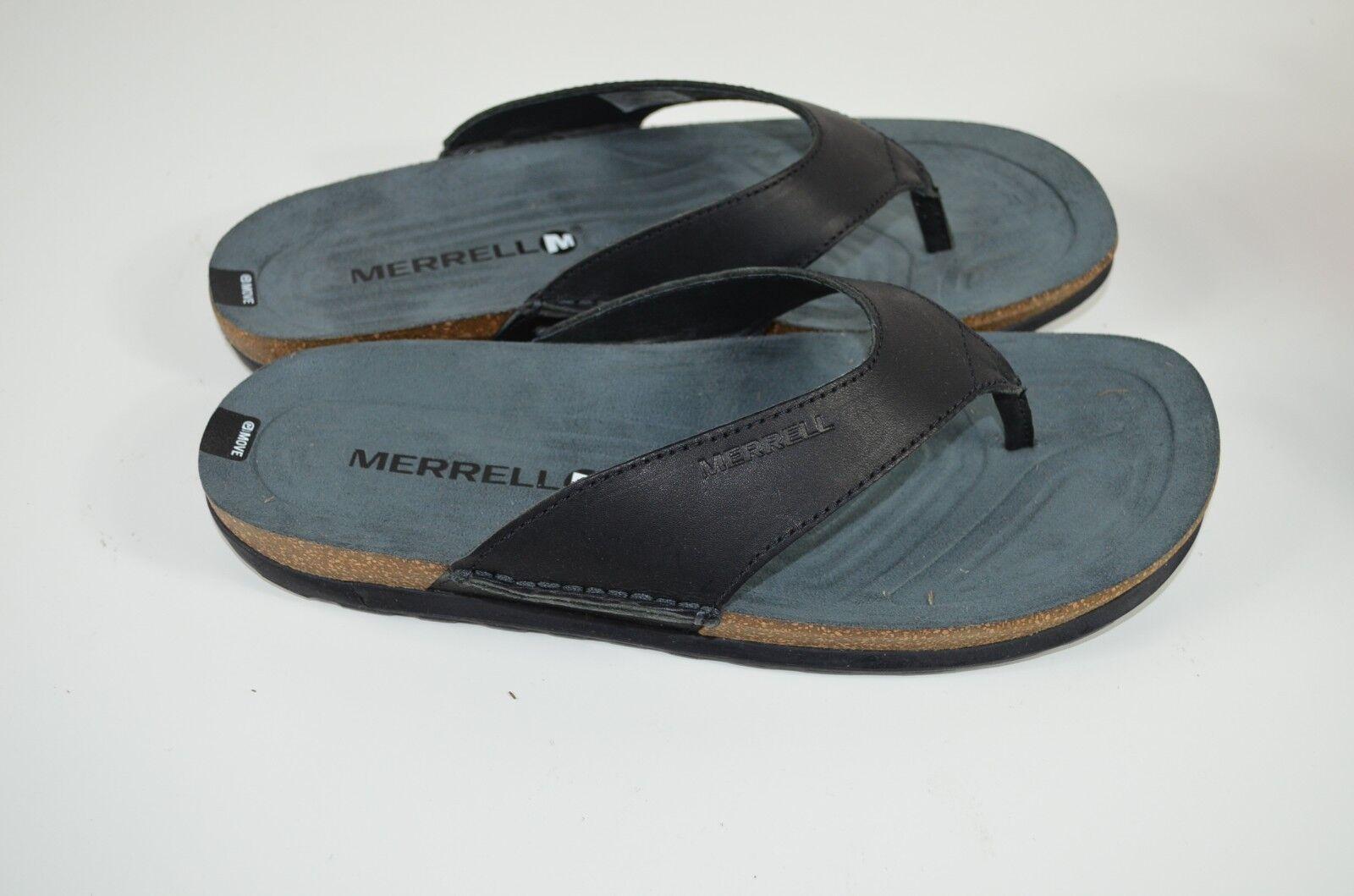NIB New Merrell Downtown Flip Flop Sz 8 Black Leather