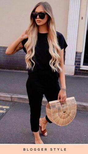 New Womens Ladies sara black short sleeve boxy loungewear set Casual Comfy