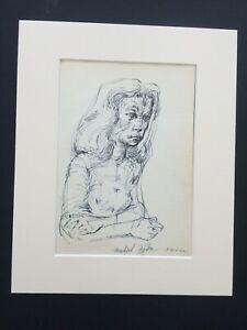 Michael Ayrton Dessin Original Signé 1952 Portrait English Artist & Writer