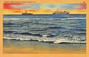 VIRGINIA-BEACH-VA-OCEAN-LINERS-PASSING-1947-POSTMARK-POSTCARD
