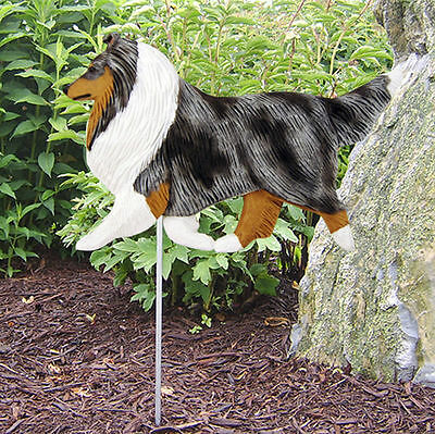 Shetland Sheepdog Outdoor Garden Dog Sign Hand Painted Figure Blue Merle