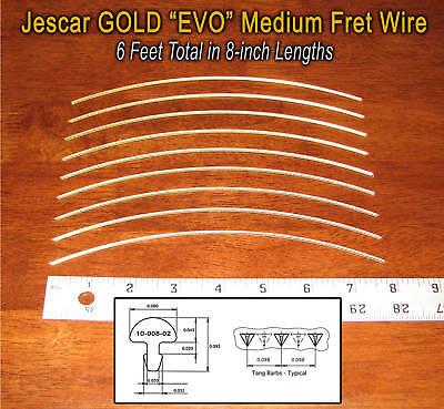 6 feet jescar gold evo medium medium frets fret wire for guitars more 610074050797 ebay. Black Bedroom Furniture Sets. Home Design Ideas