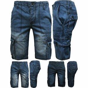 Mens-Cargo-Shorts-Combat-Denim-3-4-Long-Length-Multi-Pocket-Casual-Half-Pants