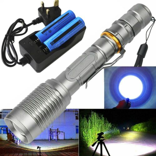 Ultra Bright 990000lm Flashlight LED Tactical Zoomable Torch Lamp+Batt+Charger