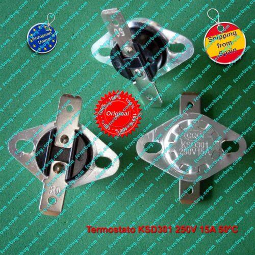 Thermostat KSD301 or KSD302 15A 250V 45ºC to 185ºC  normally closed auto reset