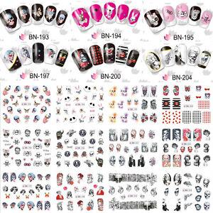 Nail-Art-Stickers-Transfers-Decals-Halloween-Skull-Skelton-Funky-Devil-Monroe