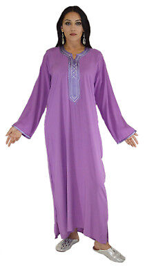 Moroccan Caftans Women Handmade Kaftan Cotton Dress Medium to Large Purple