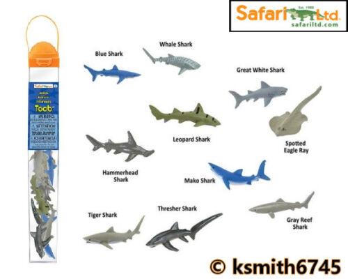 Safari SQUALO TOOB in plastica giocattolo animale selvaggio del mare Marine TUBO Fascio di 10 NUOVI